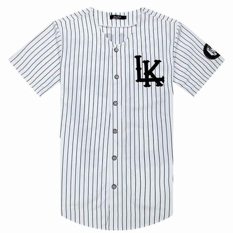 2018-2019 Hot Selled Men   T  -  shirts   Fashion Streetwear Hip Hop Baseball Jersey Striped   Shirt   Men Clothing Tyga Last Kings Clothes