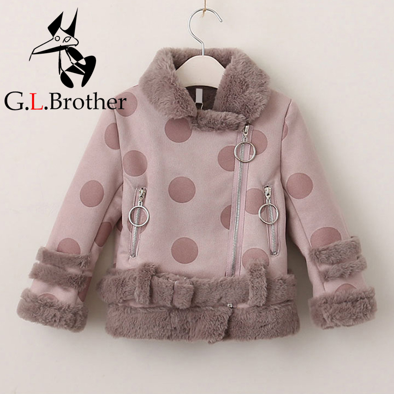 2-8Years Kids Parkas With Suede Winter Girls Jackets Thick Clothes Baby Girl Outerwear Coat Polka Dot Children Casual Jacket D68 girls polka dot tube top with ripped pants