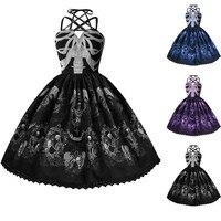 Women Summer Dress Fashion Skull Pressure Punk Style Belt Hepburn Sleeveless Dress Big Swing Party Dress Summer Dress 2019
