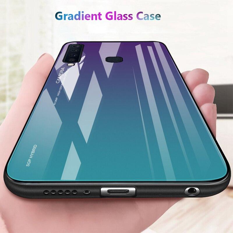Gradient Luxury Case For Samsung Galaxy A30 A50 M10 M20 M30 S10 S9 S8 Plus S10E A10 Tempered Glass On Galasy A9 A8 A7 A6 J8 2018