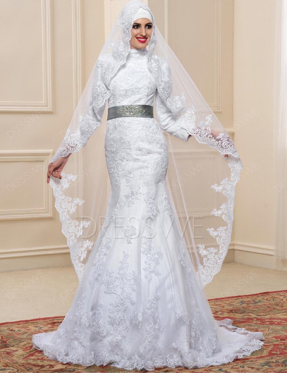 Vestido noiva muslim wedding dress hijab long sleeves for Arabic wedding dresses with hijab