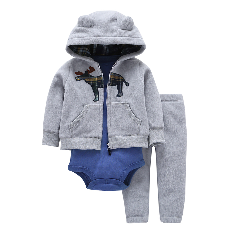 2018 Full Promotion Cotton Fleece Baby Boys Deer Coat+cotton Romper+full Length Pants 3 Pieces Sets Cartoon Clothes New Brand