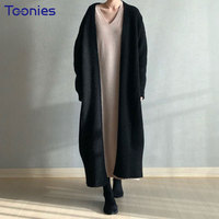 Spring Women Chic Maxi Cardigans High Quality Solid Elegant Coats Knitted Jumper Outwear Long Cardigan Gray