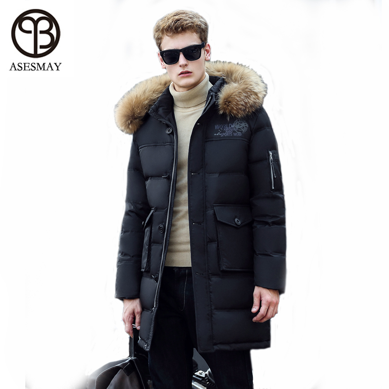 Asesmay 2016nd Clothing Hood For Jacket Goose Down Coats Men Waterproof Racfur Collar Snow Long Parka Thick Snow Warm