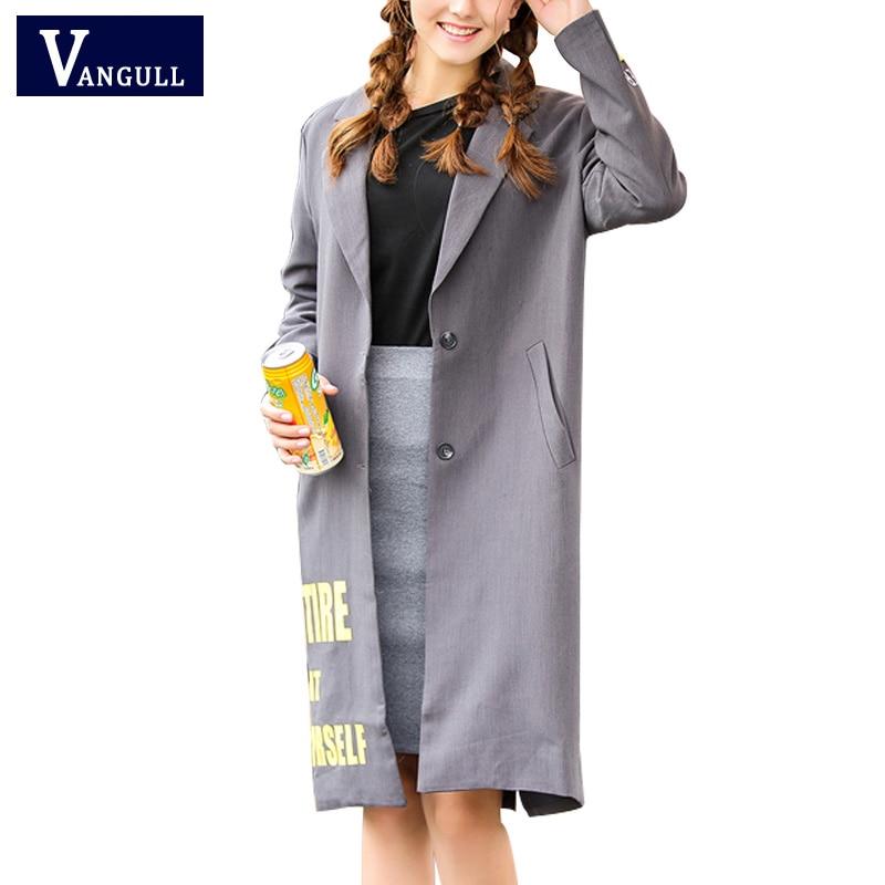 2017 Fashion Spring New Women Long Coat Single Breasted Gray Suit Loose Blazer Jacket Women's Large Type Ladies Outerwear