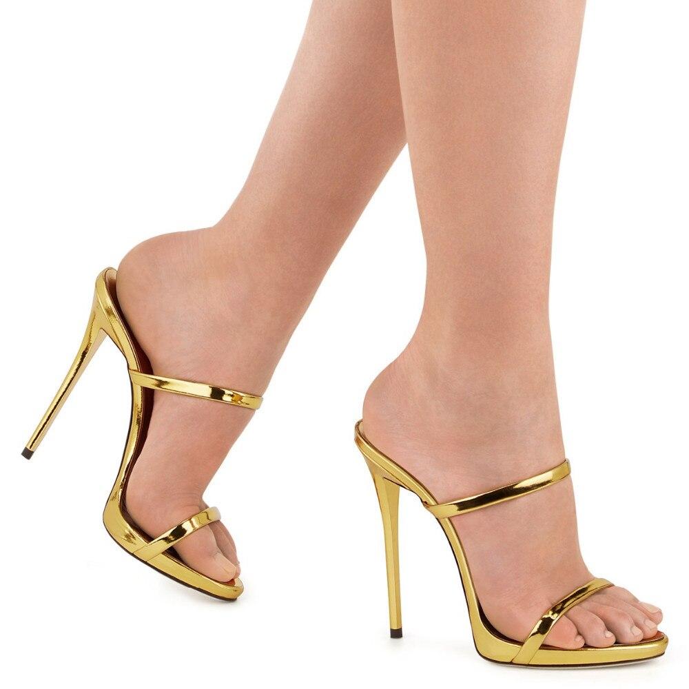 2018 Summer Women's Slippers Genuine Leather Golden Shoes High Heels Sandals Platform Sandalias Sexy Flip Flops Sandali Eleganti pi nuovo catene d oro tacco alto sandali per la donna sandali cinghie incrociate tacchi sottili cut out sandali con il cinturin