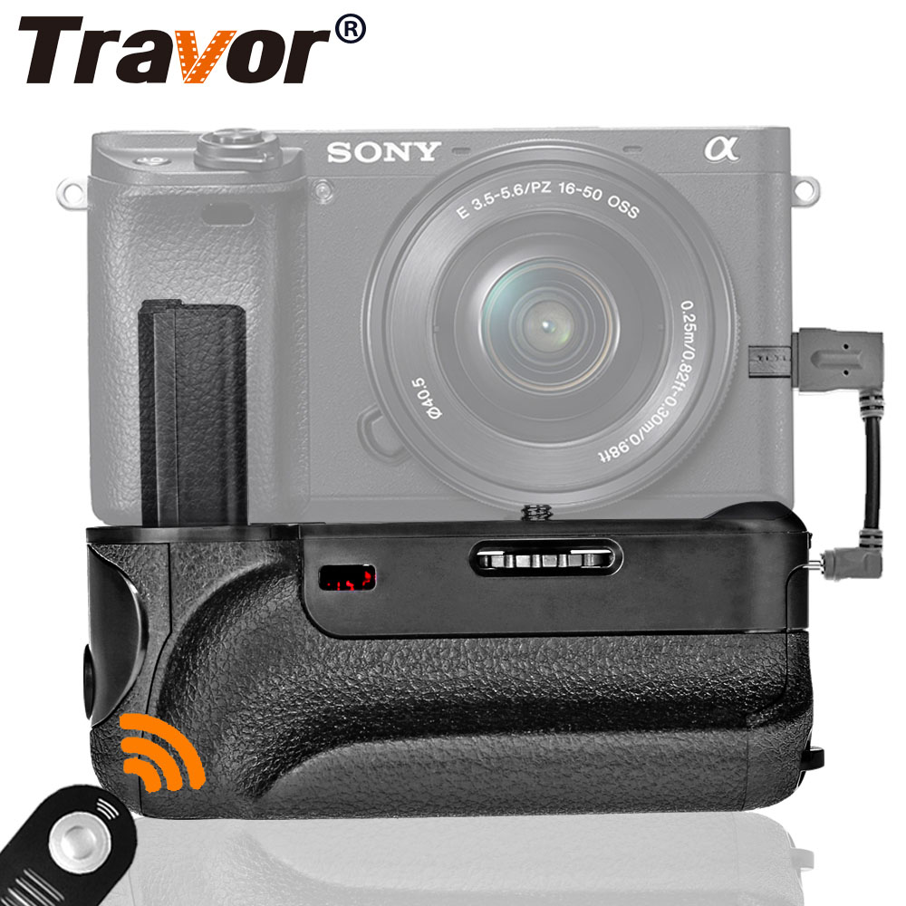 Travor vertical battery grip for Sony A6300 Mirrorless Camera with IR function work with NPFW50 battery