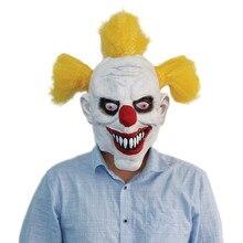 X-FELIZ Cabeza Llena de Lujo Asesino Payaso Máscaras de Halloween de Miedo con Amarillo Peluca Del Vestido de Lujo Del traje de Cosplay