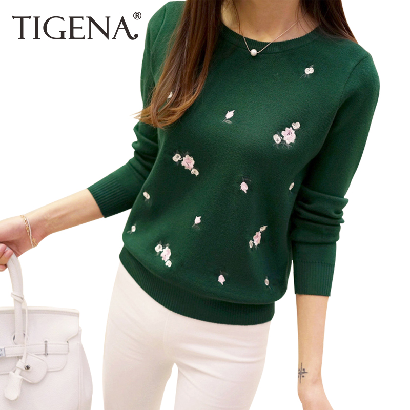 TIGENA 2017 Embroidery Floral Knitted Sweater Women Winter Sweater And Pullover Female Winter Top Tricot Jumper