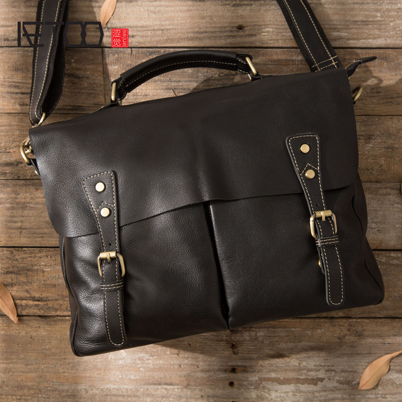 AETOO Handmade first layer of leather men bag shoulder bag retro simple cross section handbag casual briefcase aetoo first layer of leather foreign trade shoulder oblique cross package leather square notebook handbag business briefcase men