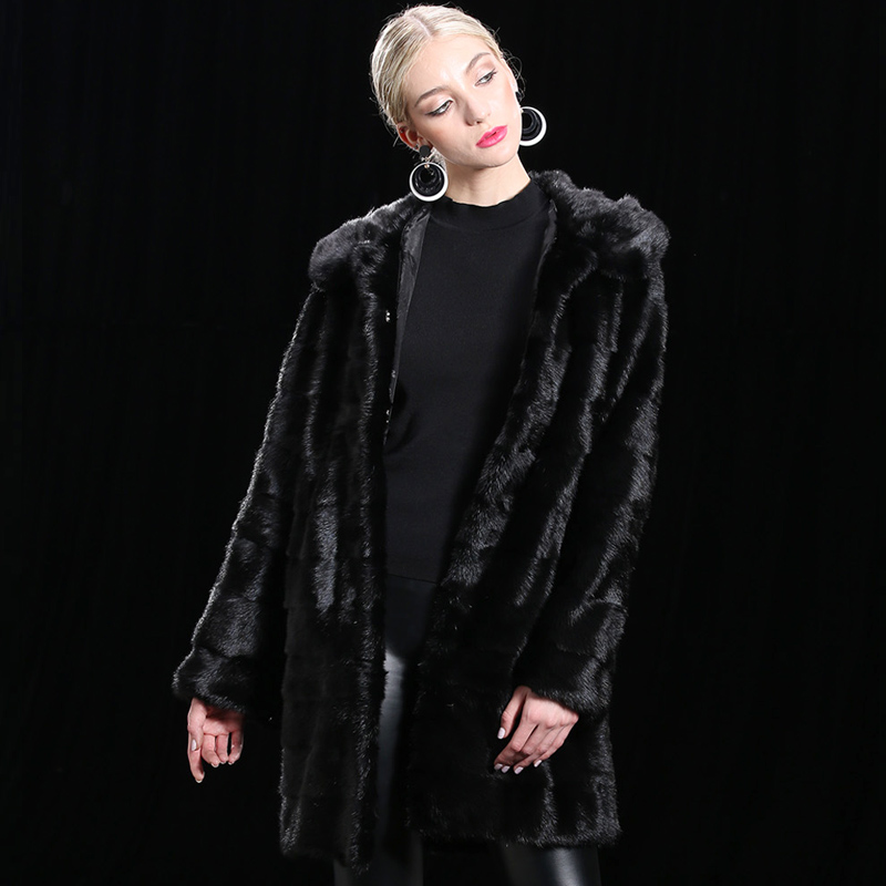 Customize Hooded Real Mink Fur Coat Women 2018 Winter Long Thick Warm Jackets Black Removable Natural fur Genuine Leather coats