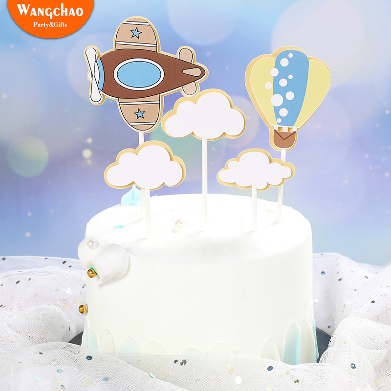 1 Set Fire Balloon Airplane Clouds Theme Kids Happy Birthday Cake Topper Cartoon Design Child Boy Cake Decoration Party Supplies image