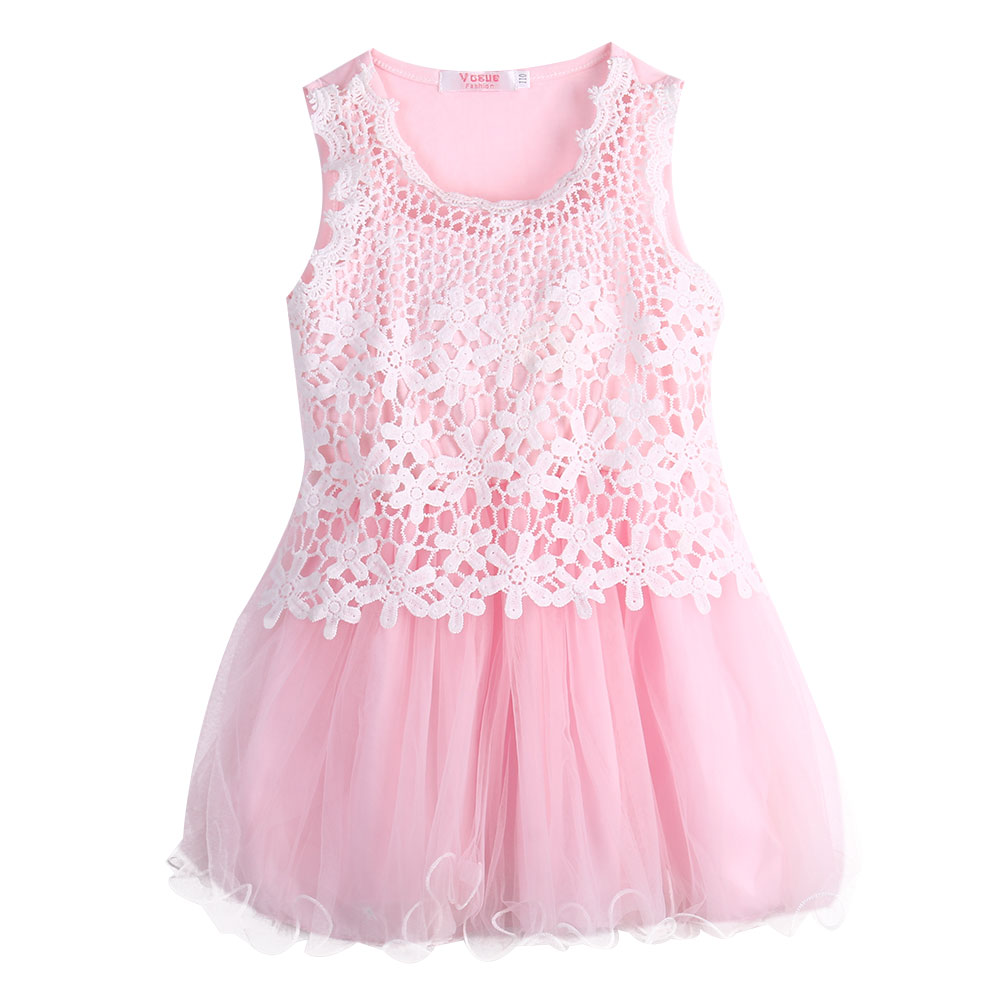 Baby Girls Princess Lace Hook Flower Tulle Ball Gown Party Dress - Ropa de ninos