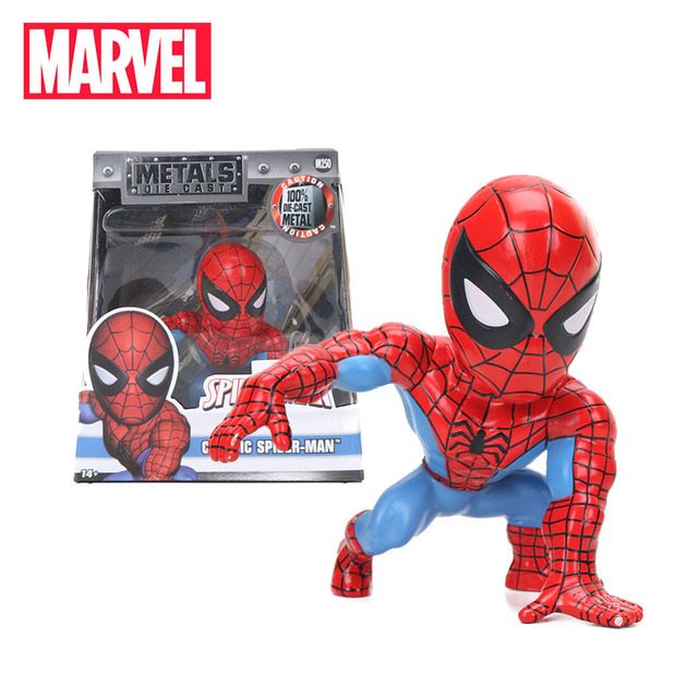 8 cm Comic Marvel Brinquedos Diecast Metal Clássico Homem-Aranha PVC Action Figure Superhero Modelo Dolls Figuras Spiderman Colletible brinquedo