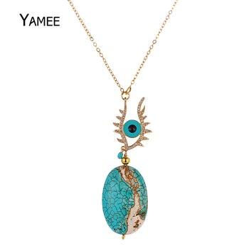 481f8f8eb82f Hecho de mal de ojo colgante collar azul de piedra Natural verde turquesas collar  largo collar de cadena de oro de moda para la joyería de las mujeres