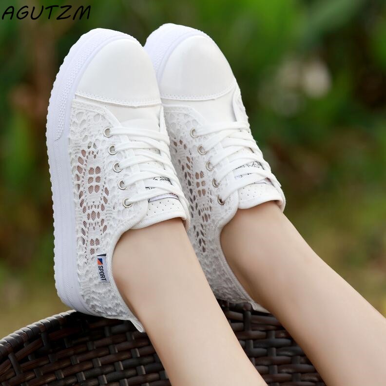 AGUTZM Women Shoes 2018 fashion summer casual Shoes cutouts lace canvas hollow breathable platform flat Shoes woman sneakers
