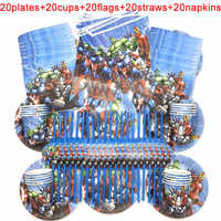 100PCS/LOT 20 Person Happy Birthday Kids Disney The Avengers Baby Shower Party Decoration Set Banner Straws Cups Plates Supplier