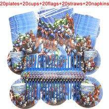 100 TEILE/LOS 20 Person Glücklich Geburtstag Kinder Disney Superhero Baby Shower Party Dekoration Set Banner Strohhalme Tassen Platten Lieferant