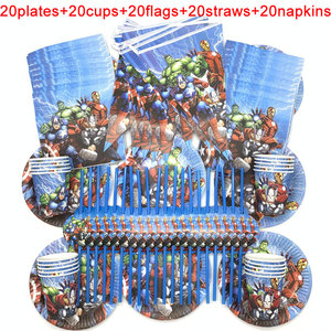 Image 1 - 100PCS/LOT 20 Person Happy Birthday Kids Disney Superhero Baby Shower Party Decoration Set Banner Straws Cups Plates Supplier