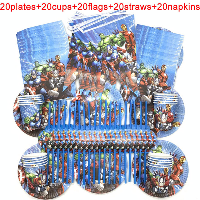100PCS/LOT 20 Person Happy Birthday Kids Disney Superhero Baby Shower Party Decoration Set Banner Straws Cups Plates Supplier