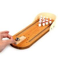 Desktop Bowling Game Set Mini Wooden Bowling Alley Ten Metal Pin Ball Desk Toy Children Kid