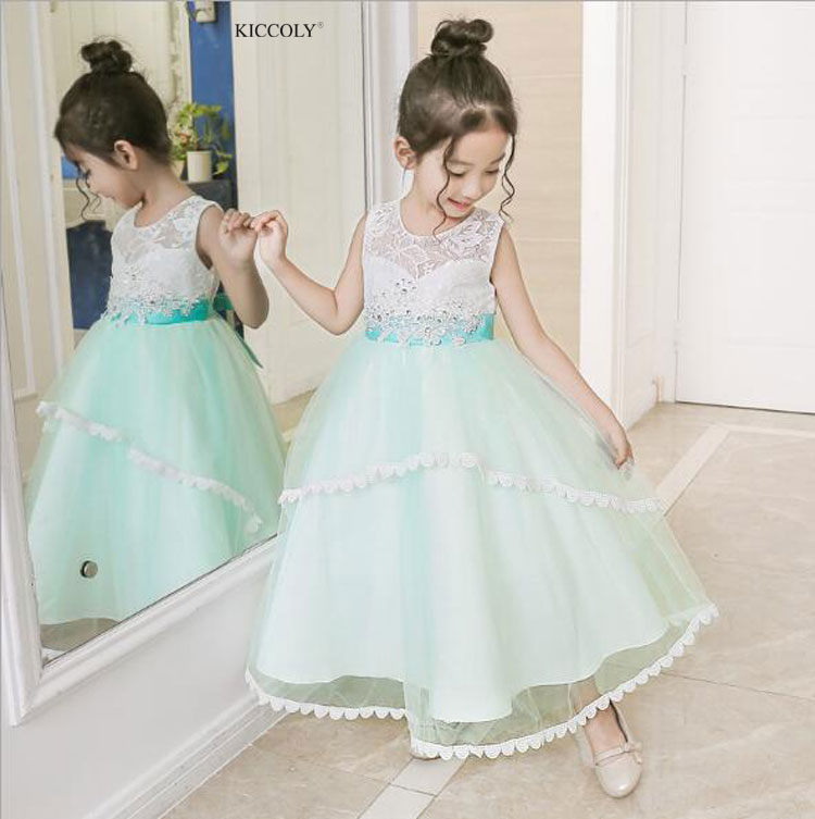 KICCOLY 2018 Summer Kid Girls Wedding Lace Long Gown Elegant Teen Girl Dress Princess Party Clothes Baby Formal Sleeveless Dress