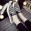 Миссис выиграть Новый Весенняя Мода женские Повседневные Холст Обувь Leopard Круглый Toe Мокасины Педаль Плоские Туфли Женская Обувь