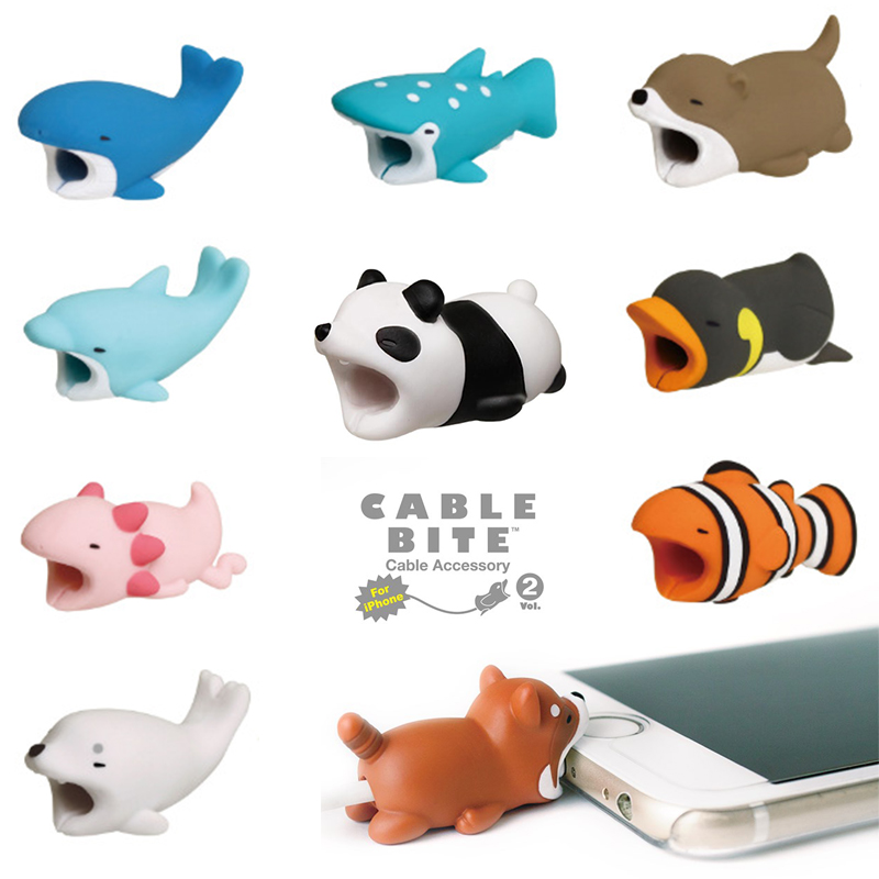 1 Pcs Cable Protector For Iphone Cable Winder Phone Bite Holder Accessory Chompers Rabbit Dog Cat Animal Doll Model Funny