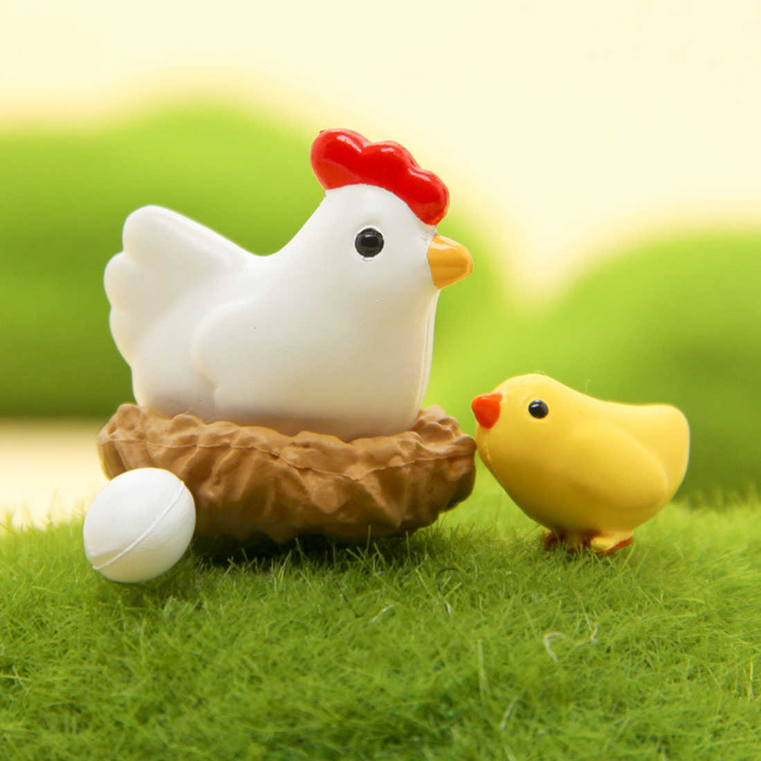Micro Chicken Eggs and Mini Flatback Resine Craft Figurines Miniature Garden Decor Bonsai Terrarium Supplies Micro Landscape