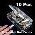 10Pcs Nail Extension Environmental Reusable UV Gel Tool Nail Art Extension Acrylic Nail Forms for Nails