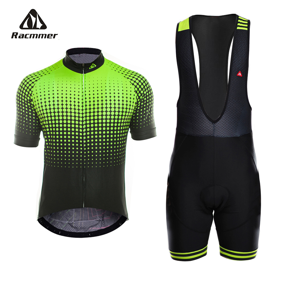 Racmmer 2018 Pro Summer Cycling Jersey Set MTB Clothing Fluorescent Green Bicycle Clothes Maillot Ropa Ciclismo Men Cycling Set