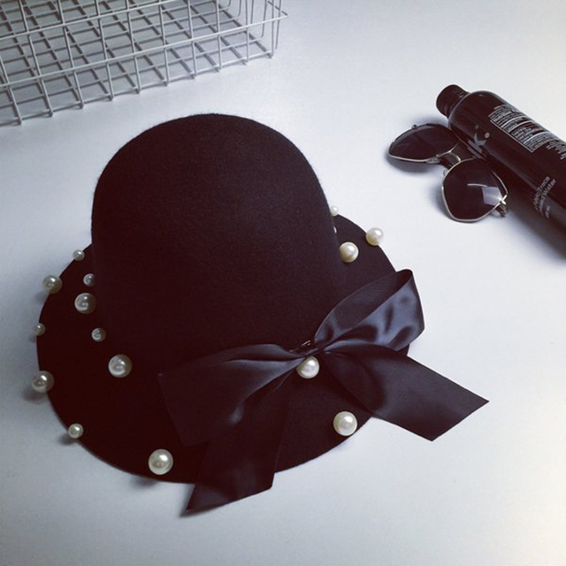 New Fashion Spring Autumn Women Female Ladies Grace Big Bowknot Cloche Applique Bead Pearl Woolen Fashion Trilby Hat