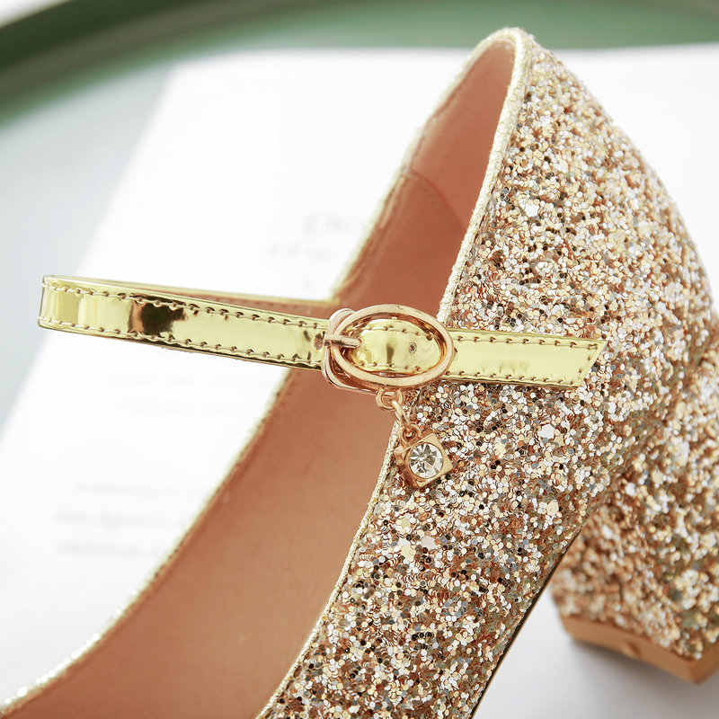 2019 Fashion Lovertjes Mary Jane Pompen Vrouwen Platform Dikke Hoge Hakken Gesp Party Trouwschoenen Vrouwelijke Goud Zilver Rood
