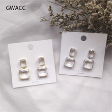 GWACC 2019 NEW Design Square Transparent Crystal Drop Earrings For Women Fashion Chic Minimalist Trendy Jewelry Female