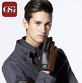 GSG Brand Winter Genuine Leather Gloves Men Black Fashion Warm Driving Gloves Goatskin Mittens Contrast Color Guantes Luvas