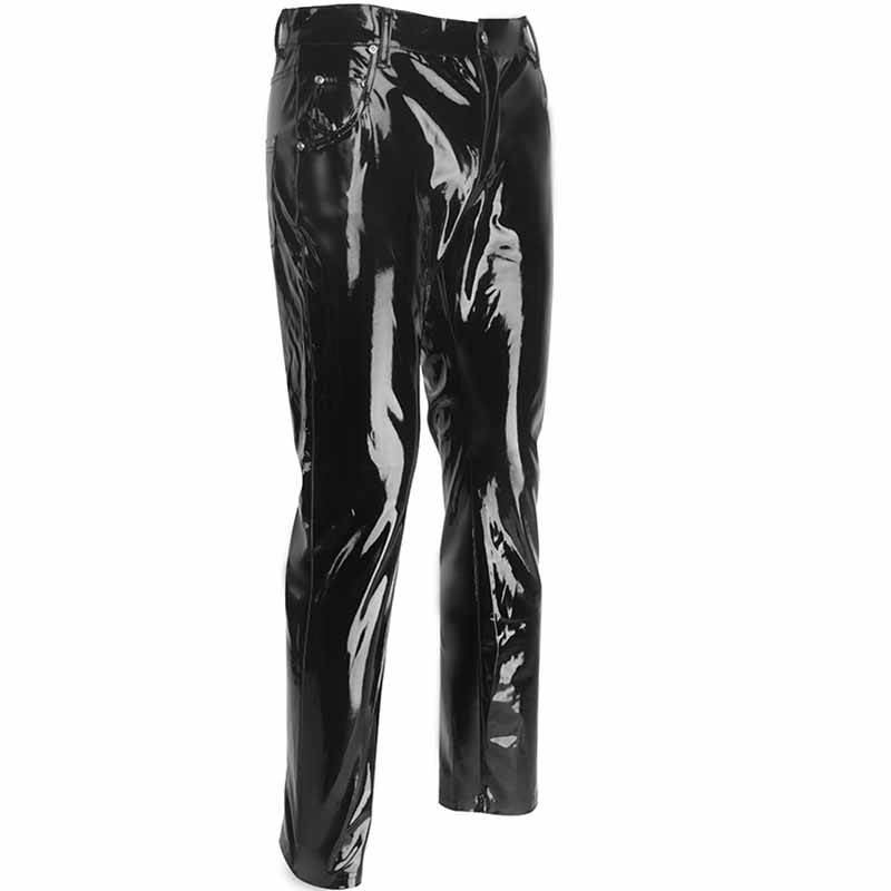 Punk Style Gothic Man Pants Sexy Wetlook Latex Vinyl Zipper Trousers Men Fashion Faux Leather Pole Dance Gay Fetish Pantalones Hombre (1)
