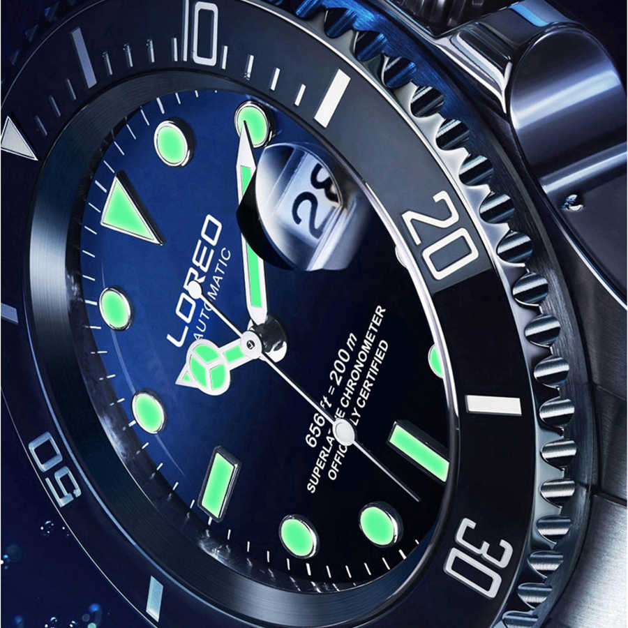 LOREO แบรนด์ Ghost ดำน้ำ Series สีดำหรูหราผู้ชายอัตโนมัตินาฬิกา 316L เหล็ก 200m กันน้ำนาฬิกา Mens