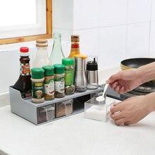 Accesorio condimento JAR almacenamiento kruidenrek cocina organizador  estante para especias suministros cocina cuchara especia estante plástico eec584408246