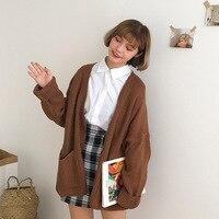 Корейский женский свободный кардиган, пальто с двойным карманом, дизайнерский свитер, куртка Милая девочка, повседневный длинный вязаный к...