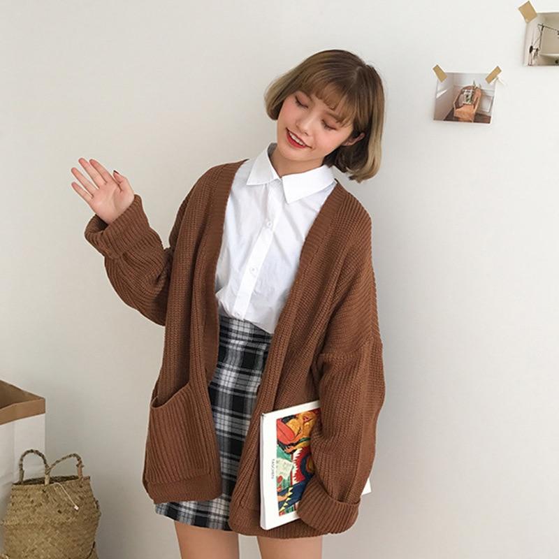 Korean Women Loose Cardigan Coat Double Pocket Design Sweater Jacket Cute Sweet Girl Casual Long Knitted Cardigan Pink Cape Top