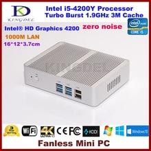 fanless system Core i5 4200Y mini pc mini computer HTPC with hdmi hd 4k usb3.0 2GB RAM + mSATA3.0 SSD 0.00DB Zero Noise