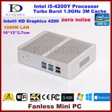 Безвентиляторная система Core i5 4200Y мини-ПК мини-компьютер HTPC с HDMI HD 4 К USB3.0 2 ГБ Оперативная память + mSATA3.0 SSD 0.00DB zero Шум