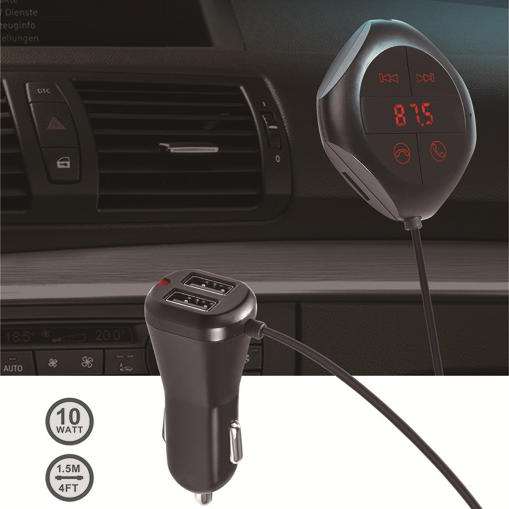 Car MP3 Music Player FM Transmitter Modulator AUX Out Bluetooth Handsfree Phone Dual USB Charger TF Card Reader