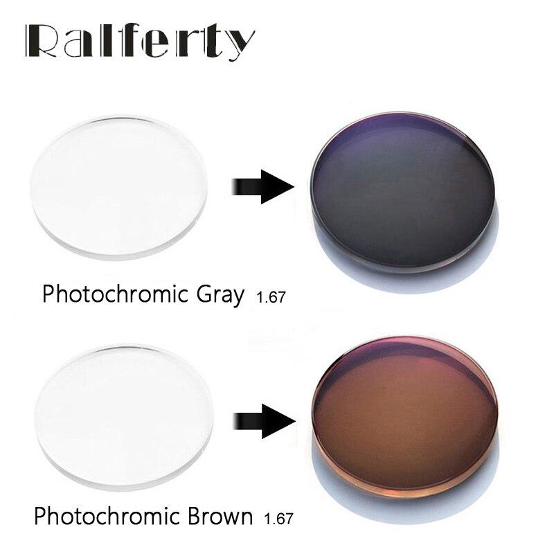 1.67 Prescription Photochromic Lens Anti-Glare UV 400 Optical Lenses Resin Spectacles Transparent Gray Brown Myopia/Hyperopia