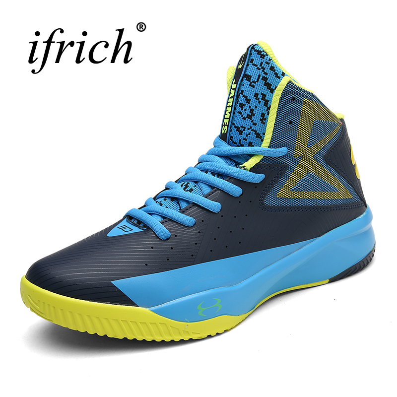 2019 New Mens Sneakers Basketball Boots Boys Teenager Gym Training Sneakers Black Blue Basketball Shoes High Top Trainers Men