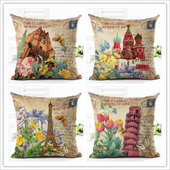 45 *45cm Vintage Eiffel Tower in Paris Arc de Pizza Triomphe orative Throw Pillow Covers Sofa Seat Cheap Cushion Covers fashion