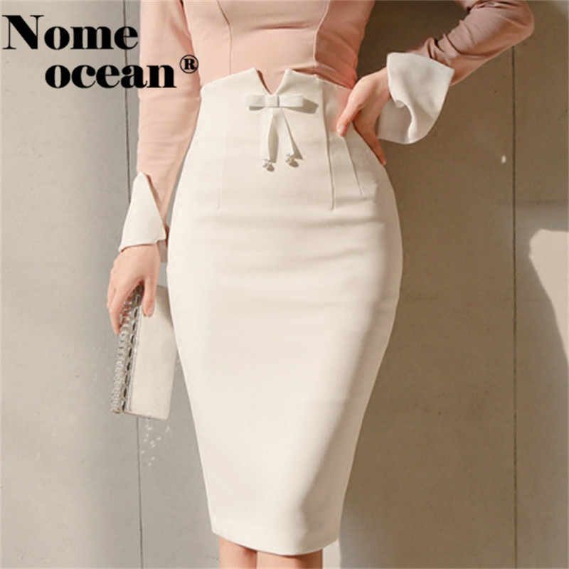 f611467d94 Office Lady High Waist Bow Detail Midi Skirts Sexy Middle Slit Back Pencil Skirt  2018 New