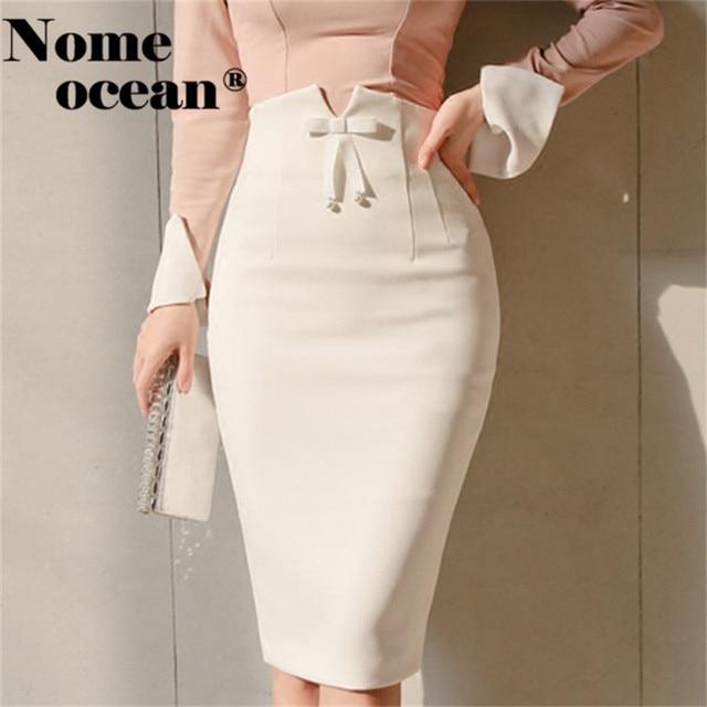 Office Lady High Waist Bow Detail Midi Skirts Sexy Middle Slit Back Pencil  Skirt 2018 New 49ac2375adb