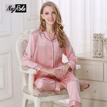 New Spring Elegant 100% silk women pajamas sets long sleeve Noble Pink sexy pyjamas for women Pure color ladies silk sleepwear