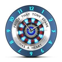 84a73d84b دليل على أن توني ستارك لديه قلب مفاعل قوس ساعة حائط خارقة الحديثة شنقا جدار  ووتش